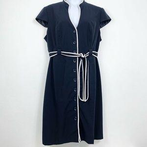 Sandra Darren Women 20W Coat Dress Navy Blue White